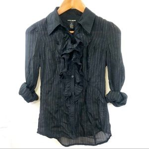 Lucky Brand Sheer Button down Top dressy size XS
